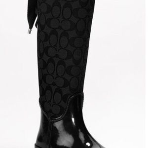 Coach Shoes - Coach Tristee Signature Logo Lace Up Rain Boots
